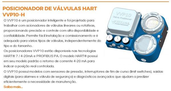 POSICIONADOR DE VÁLVULAS HART VVP10-H - O VVP10 é um posicionador inteligente e foi projetado para trabalhar com acionadores de válvulas lineares ou rotativas, proporcionando precisão e controle com alta disponibilidade e confiabilidade. Permite fácil instalação e comissionamento e é adequado para vários tipos de válvulas, independentemente do tipo e do tamanho.