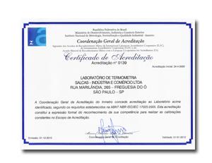 Certificado RBC - Rede Brasileira de Calibração nº 139. Laboratório de Termometria.