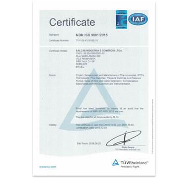 Certificado ISO 9001:2015 - Inglês