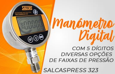 Manômetro Digital com 5 dígitos com Diversas Opções de faixas de Pressão - SalcasPress 323