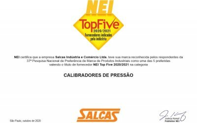 Salcas - Reconhecimento TOP FIVE NEI 2020 / 2021
