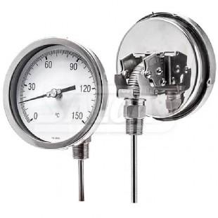 Termometro Bimetalico Una termómetro de lámina bimetálica o termómetro bimetálico es un dispositivo para determinar la temperatura que aprovecha el desigual coeficiente de dilatación de 2 láminas metálicas de diferentes metales unidas rígidamente (lámina bimetálica). termometro bimetalico