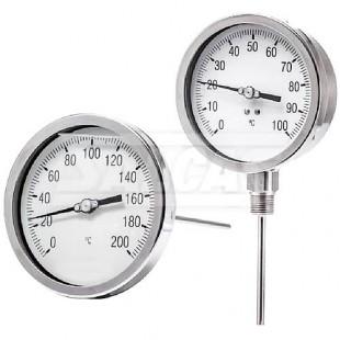 Termometro Bimetalico El termometro bimetalico funciona utilizando la contracción y expansion de dos aleaciones de metal para determinar la el elemento sensible a la temperatura, la tira bimetálica, se fabrican usando. termometro bimetalico