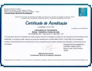 Certificado de Acreditação Salcas