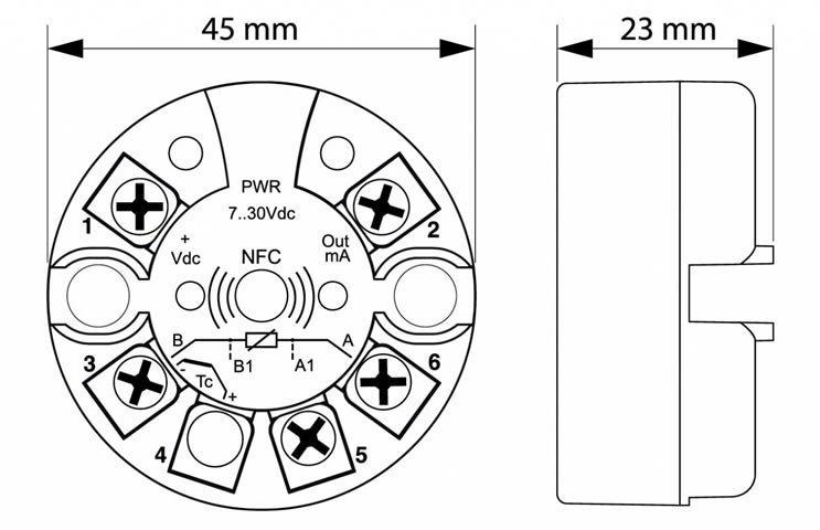 Dimensões do Transmissor de Sinal para Sensores de Temperatura ATT1
